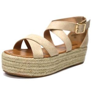 Shoes - New Natural Cross Strap Platform Espadrille Sandal
